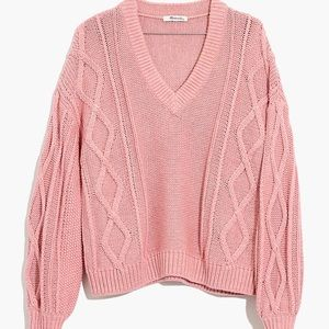 Madewell Augustus Cableknit V-Neck Sweater, S NWT